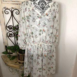 Club Monaco silk cottage core floral print dress